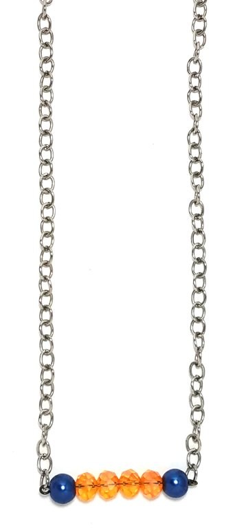 Navy Pearl &  Crystal Orange Necklace M141