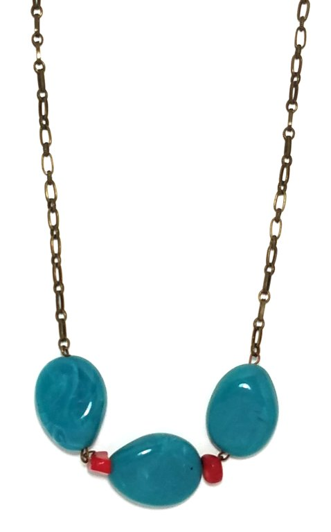 Turquoise Coral Necklace M102