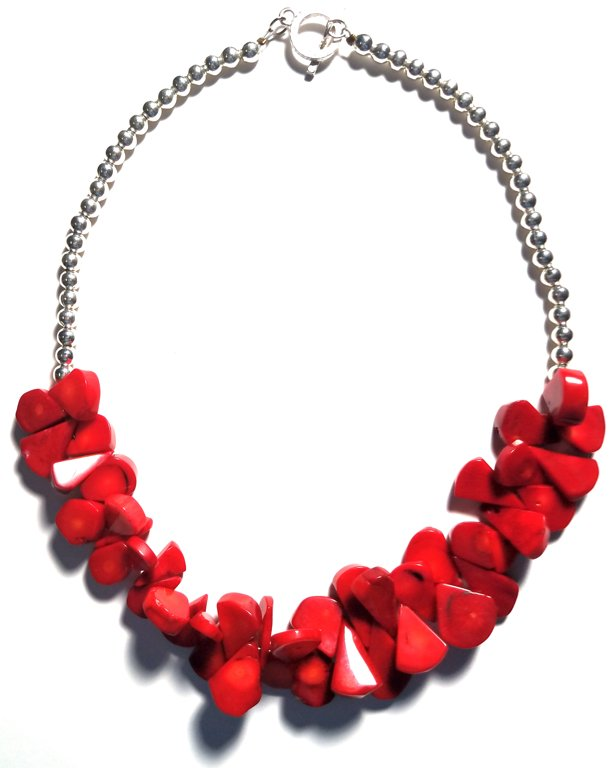 Coral Tear Stone Necklace M143