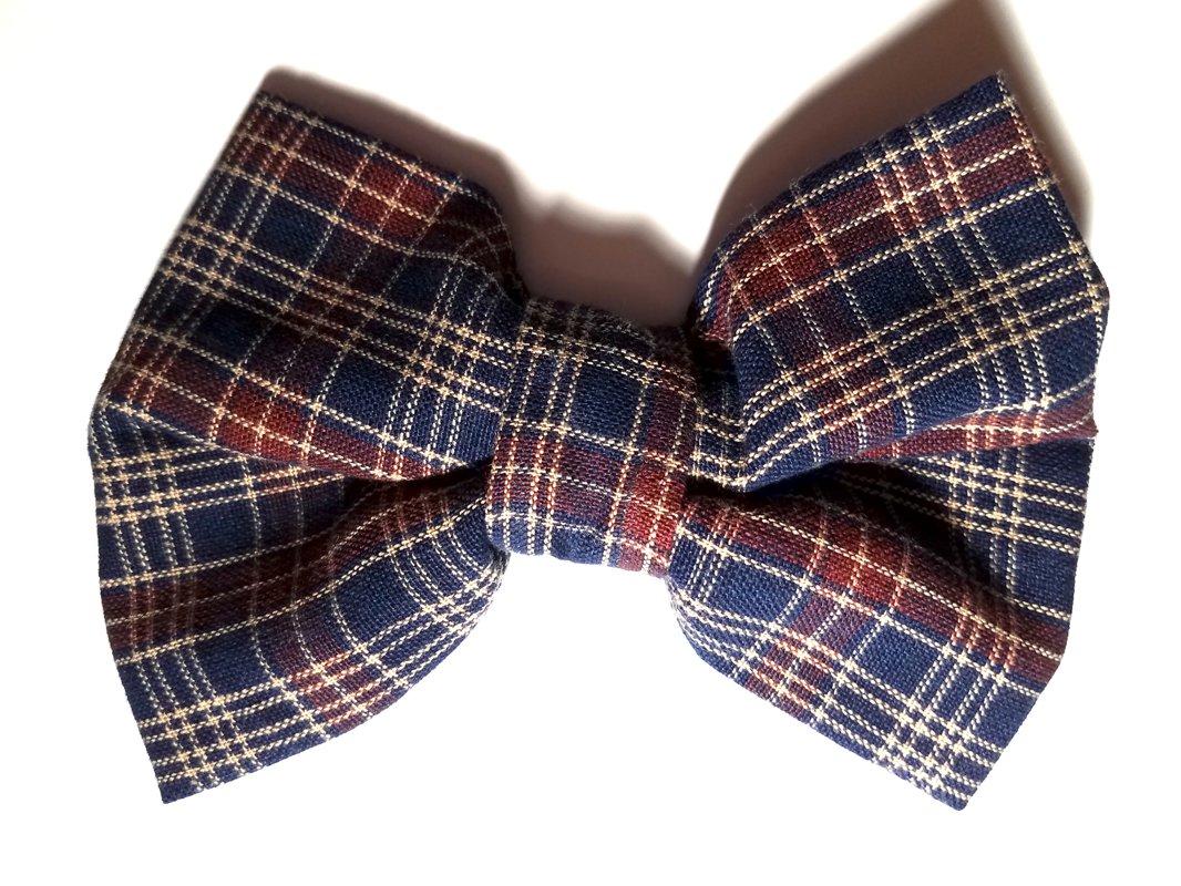 Navy & Burgundy Plaid Bow Tie MT111
