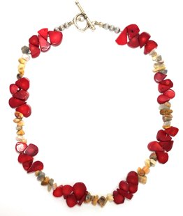 Coral and Natural Stone Necklace M142