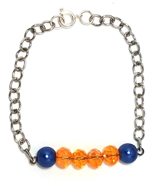 Navy Pearl Crystal Orange Bracelet MB114