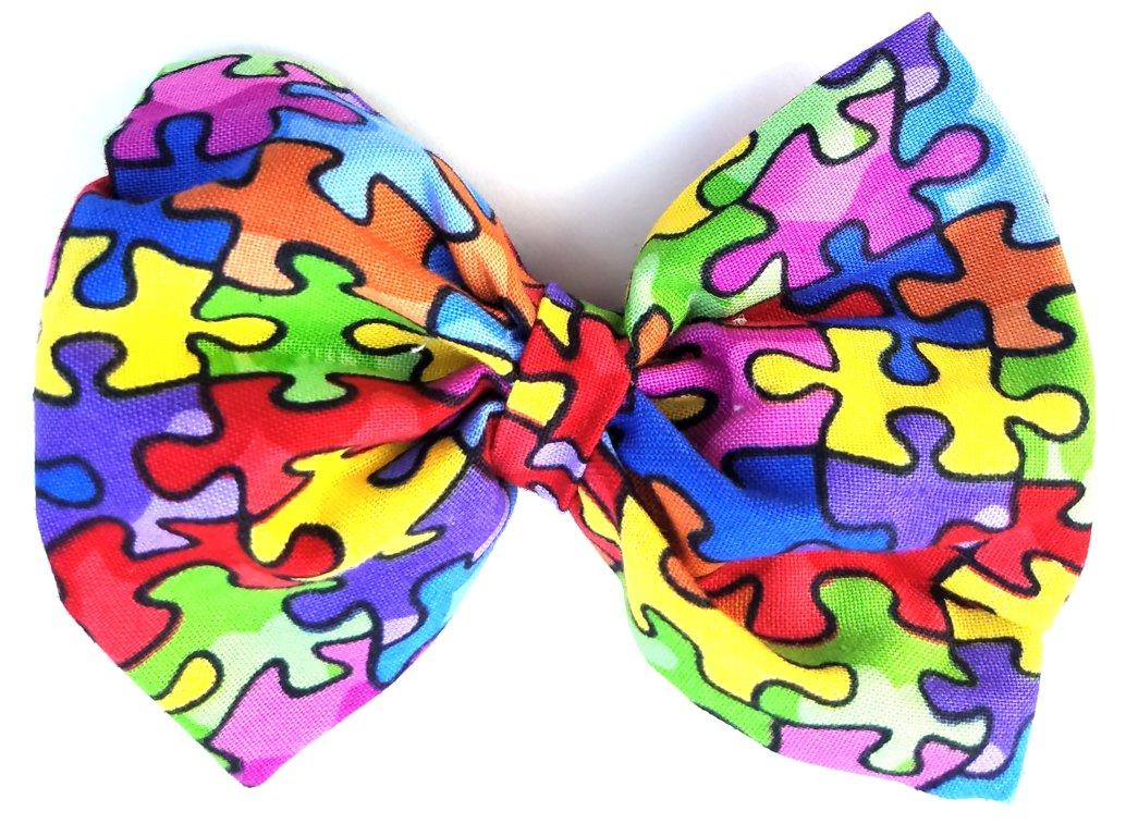 Autism Puzzle Piece Bow D102
