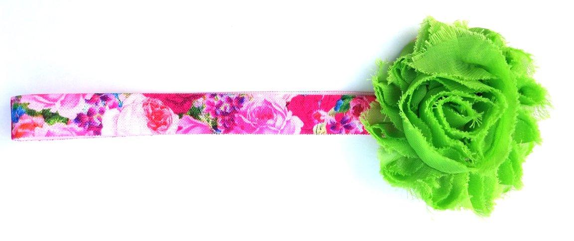 Shabby Bow w/colorful Elastic Headband D118