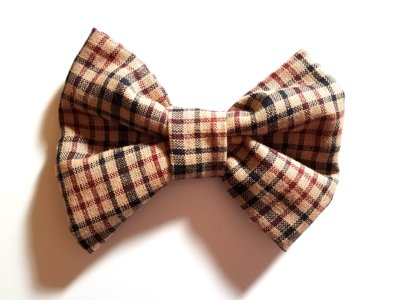 Cream Burgundy Plaid Bow Tie MT101